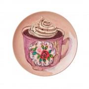 Melamine Dessert Plate with Andrea Lavender Teacup Print