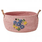 Large Round Raffia Basket with Hand Embroidered Flowers and Leather (Pink)
