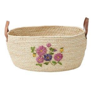 Large Round Raffia Basket with Hand Embroidered Flowers and Leather (Natural)
