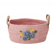 Medium Round Raffia Basket with Hand Embroidered Flowers and Leather (Pink)