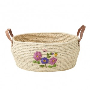 Medium Round Raffia Basket with Hand Embroidered Flowers and Leather (Natural)