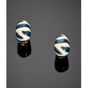 KENNETH JAY LANE Zebra Print Earrings (Blue)