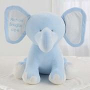 Embroidered Jumbo Plush Elephant - Blue
