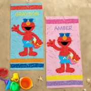Personalized Sesame Street Elmo At The Beach Towel