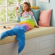 Personalized Mermaid Rainbow Ombre Blanket